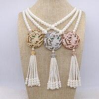 4 Unids Simulado Collar de Perlas de la mezcla colores taiger principal y borla colgante collar hecho a mano Barroco de la joyería para las mujeres 1137