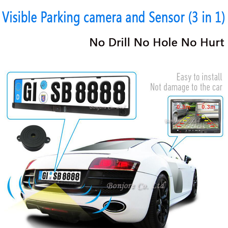 Visible Parking sensor Car Rear Parking Radar Sensors HD CCD Europe Russia License Plate Frame Car