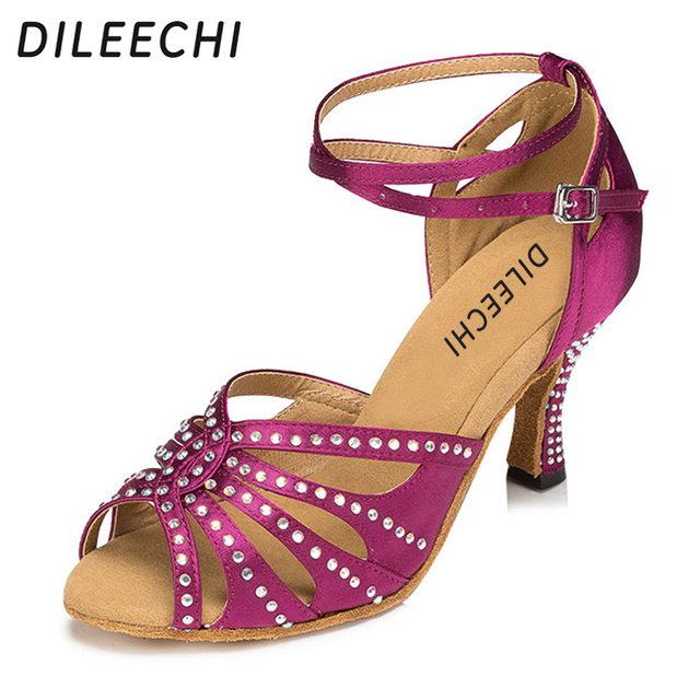 DILEECHI hot drilling Blue Purple satin Women s Latin dance shoes Ballroom  dance shoes Party Square dance shoes 7.5cm high heel 0a30fb1ebe4a