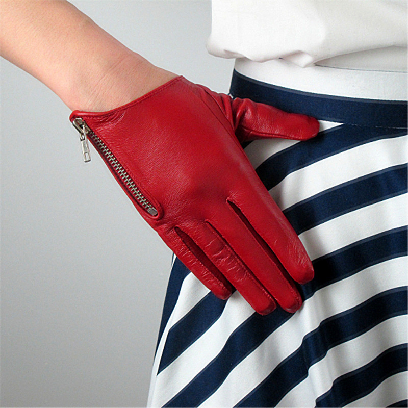 Pure Sheepskin Genuine Leather Woman Gloves Short Style Red With Zipper European Version French Elegance Female Mittens TB84-in Women's Gloves from Apparel Accessories