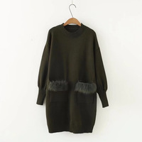 2017 Autumn Winter Fur Spliced Long Sleeves Knitted Sweaters Dress Women New Fashion Clothing Pullovers Black