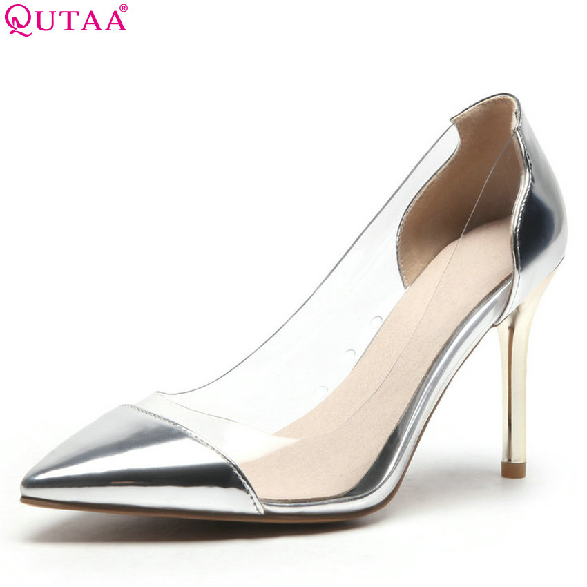 QUTAA 2018 Women Pumps Thin High Heel Pointed Toe All Match Pu Leather Sliver Leisure Spring/sunmmer Women Pumps Size 34-43 qutaa 2017 women over the knee high boots all match pointed toe high quality thin high heel pointed toe women boots size 34 43