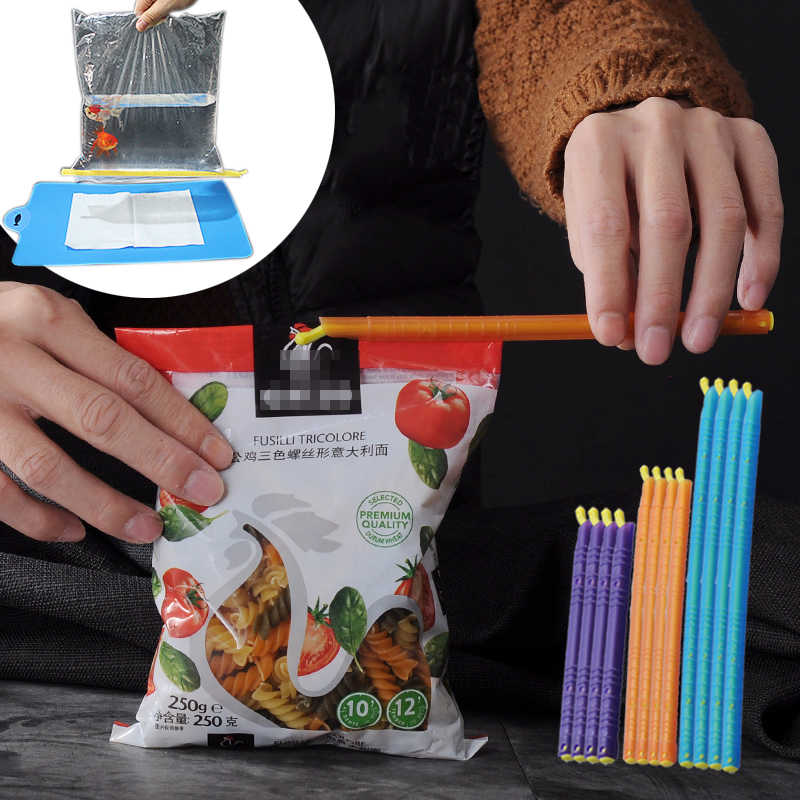 12PCS Kitchen Storage Bag Clip Plastic Seal Stick Storage Bar Bag Househoud Sealer Clamp Snack Fresh Food Rod Strip Kitchen Tool