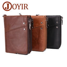JOYIR Genuine Leather Wallet Men Credit Card Holder Antitheft Vintage Blocking Rfid Man Zipper Short Coin Purse