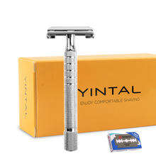 лучшая цена Chrome Long Manual Razor Classic Handle 11.3 CM Butterfly Open Double Edge Safety Razor Durable Plated