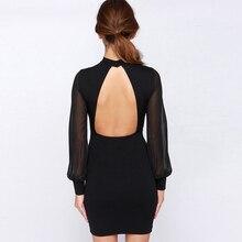 Sexy Bandage Backless Dress Nightclub Party Vestido Chiffon Sleeve Bodycon White Black Mini Sheath Dresses 2018 Women's Clothing