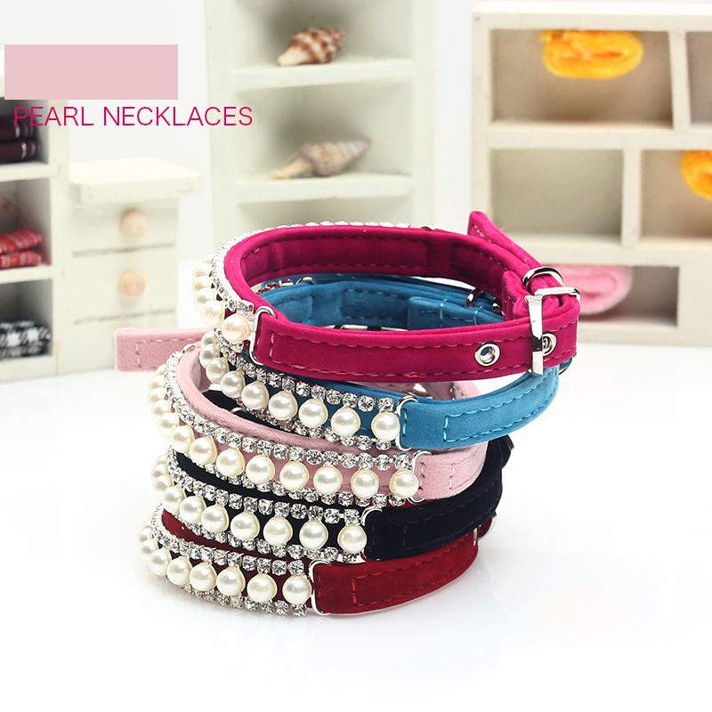 New Style Jewelry pear Dog Collar Soft Velvet Material Adjustable necklace Pet Dog Cat Collars with 5colors