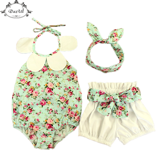 b484828d8 Blue Floral Baby Outfit Halter Back Collar Girl Bubble Shorts Summer Girls  3pcs Romper Playsuit Factory Retail Baby Clothes