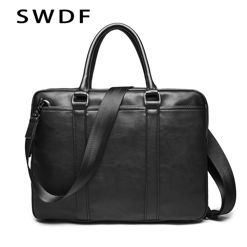 SWDF Fashion Simple Dot Famous Brand Business Men Briefcase Bag Leather Laptop Bag Casual Man Bag Shoulder Bags For Men 2019