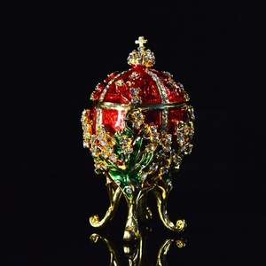 Image 4 - Qifu Metal Handicraft Small Faberge Egg Jewelry Box Home Decor