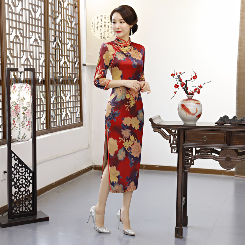 Qipao Style La Cheongsam Plus 2018 Rayonne Mode Partie De Robe Chinois Vintage Taille Bouton 4xl Long Mince Other Robes Femmes 06dqIw6A