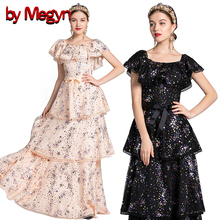 by megyn women party long dress luxury sequined embroidered shoulder off sleeveless birthday dress gold beads shinny maxi dress flower embroidered sleeveless maxi dress
