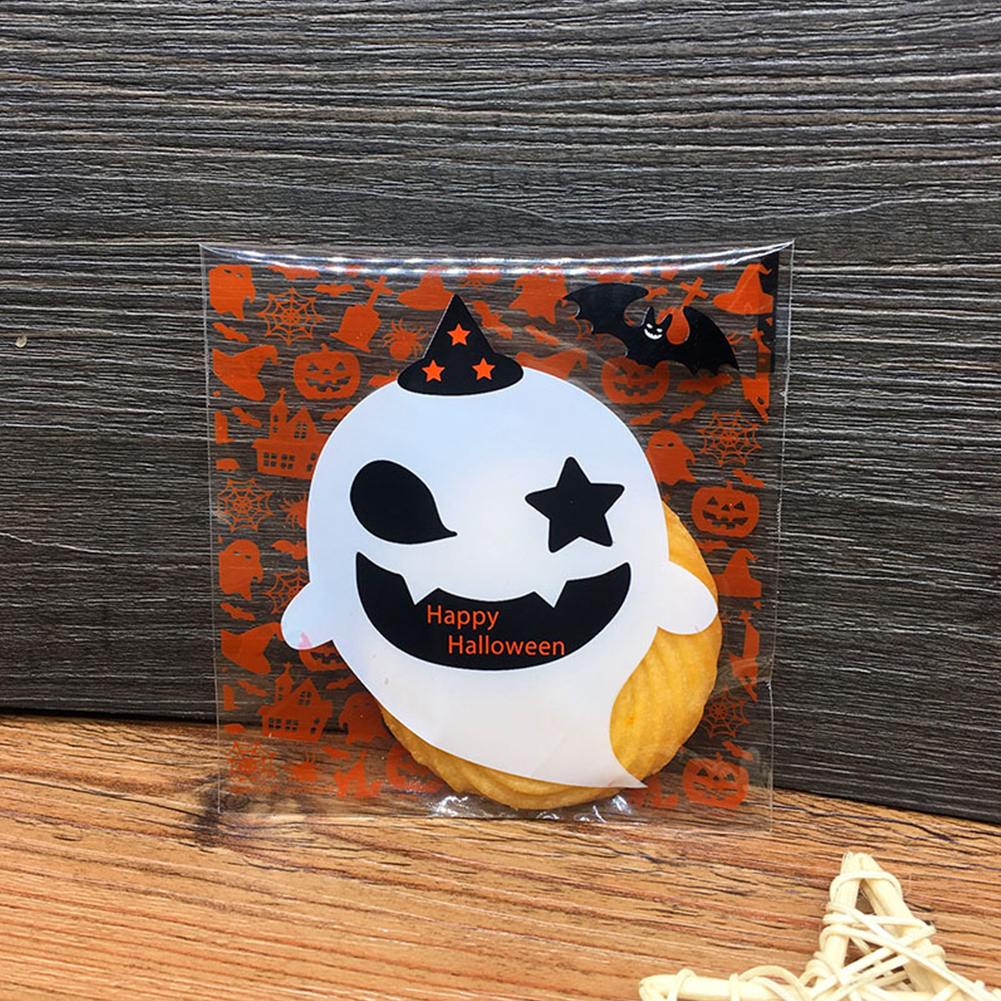 100Pcs/Pack Candy Cute Party Decoration Self Adhesive Halloween Sweet Dessert Packaging Bag Cookies Pumpkin Ghost Small Gifts(China)