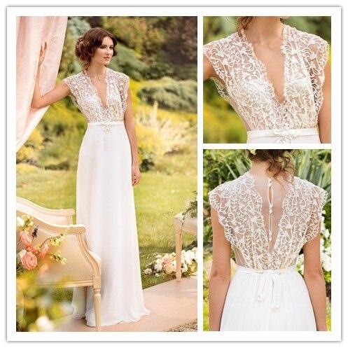 Elegant A Line V Neck Beach Bohemian Wedding Dresses 2017 Floor Length See Through Bridal Gowns