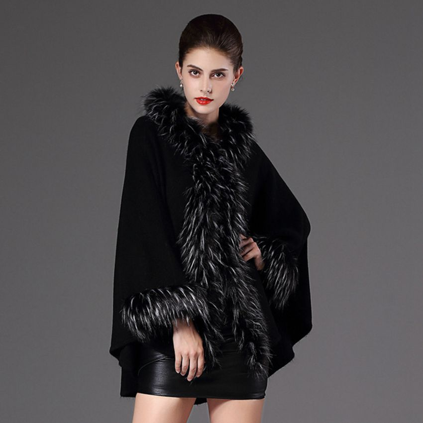#2936 Winter poncho Faux fox fur collar Vogue Long Women Fur Cape Shawl Coat Ponchos and capes Luxury brand Fur coat Cloak