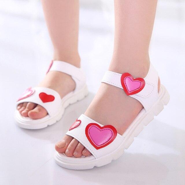 c3f3fe6fabc6 Girls sandals 2018 summer new children s student princess shoes little girl  baby toddler sandals soft bottom love kids flat shoe