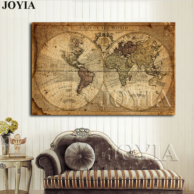Vintage World Map Canvas Art Print Large Painting Calligraphy - World map canvas