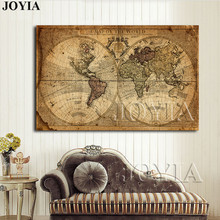 Buy mirror world and get free shipping on aliexpress joyia vintage world map canvas art print large no frame gumiabroncs Images