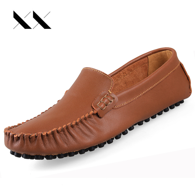 XX Big Size 35-47 Casual Men Soft Leather Shoes Luxury Driving Shoes Men Loafers Flats Slip On Moccasins Breathable Lightweight nightclub luxury fashion slip on embossed leather dress shoes flats big size men moccasins casual shoes mens loafers espadrilles