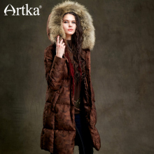 Artka Winter Duck Down Jacket Women Fur Parka With Hood Long Down Coat Female Extra Warm Outerwear Vintage Windbreaker ZK15352D