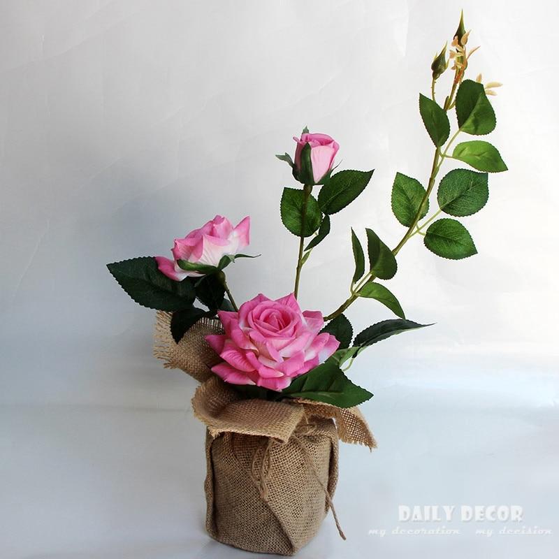 Linen red rose bonsai artificial rose flower arrangements set flores artificiais arranjos ikebana in ceramic pots suit PINK