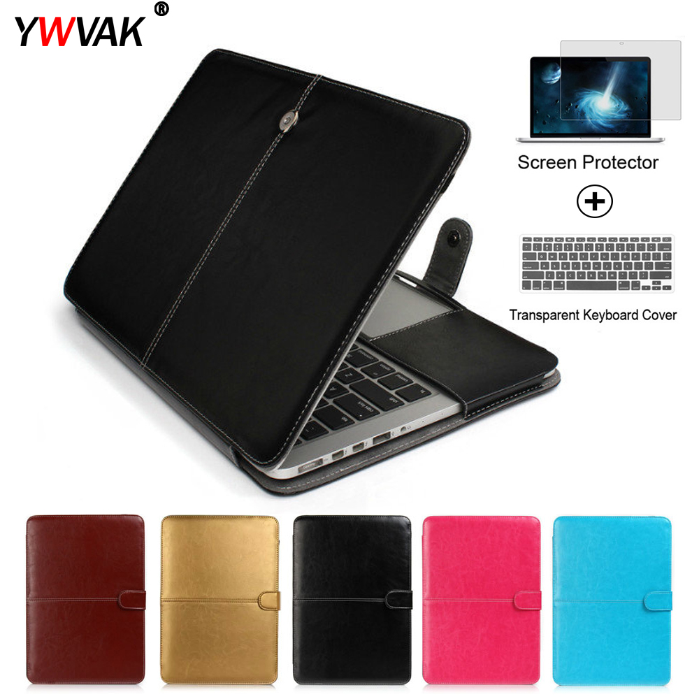 YWVAK PU Leather Laptop <font><b>Case</b></font> bag For Apple <font><b>Macbook</b></font> Pro <font><b>Air</b></font> Retina 11 12 <font><b>13</b></font> 15 inch with Touch Bar New+<font><b>transparent</b></font> keyboard cover image