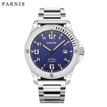 2017 חדש הגעה Parnis Mens למעלה מותג יוקרה מכאני שעון Pvd מקרה 21 תכשיטים תנועה זוהר צבאי שעון גברים