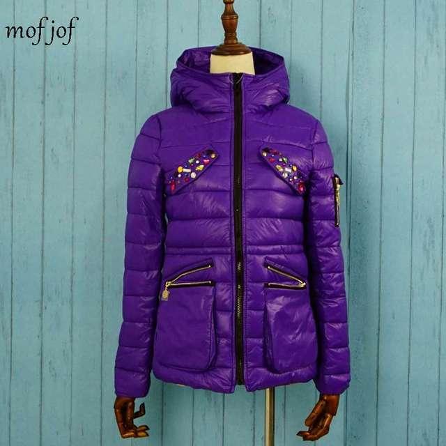 Winter jacket women warm coat with crystal hoodie coat