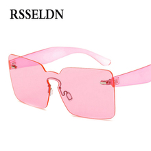 RSSELDN 2017 Cool Cheap Sunglasses In One Piece For Party Orange Pink Rimless Sun glasses For Men And Women Plastic UV400