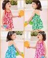 Hot girls vestido 2 - 7 anos sling vestido crianças praia 6 peças/lote mesma cor todo o tamanho