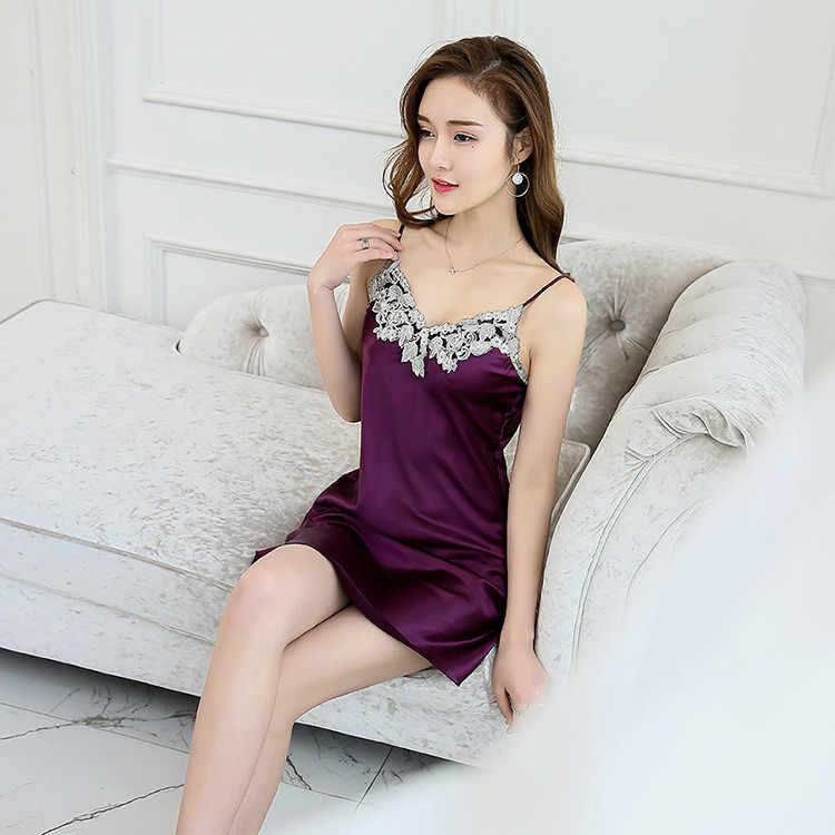 d7bbcff7af ... Summer Sexy Women Satin Robe Lady Bathrobe Chinese Girl Nightgown  Sleepwear Strap Nightie Nightdress LACE Flower