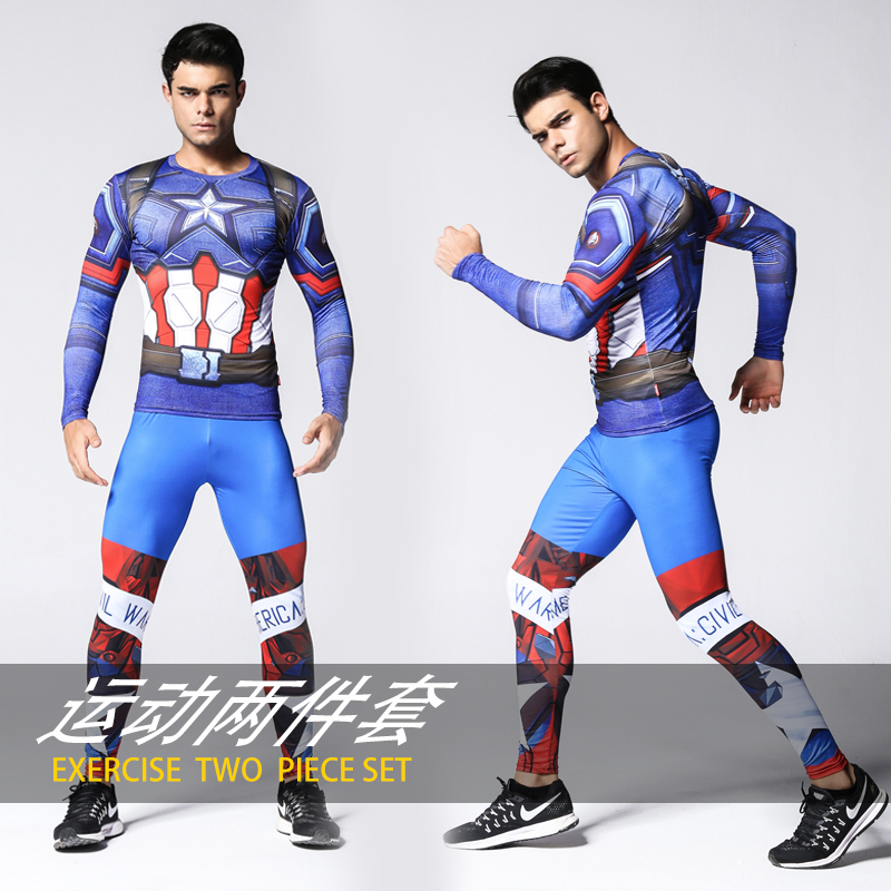 Hot 2019 Spiderman Adult man iron Man Superman cosplay costume Two piece set captain america costume Tights Sportswear