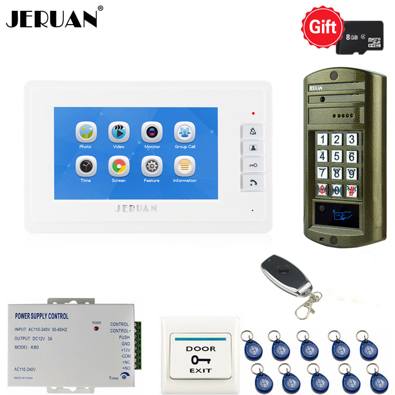 JERUAN 7 Inch Video Door Phone Doorbell Video Intercom Record Entry System + Waterproof IR RFID Code Keypad Camera Free Shipping free shipping 7 touch key white monitor video door phone intercom system waterproof rfid code keypad unlock doorbell camera