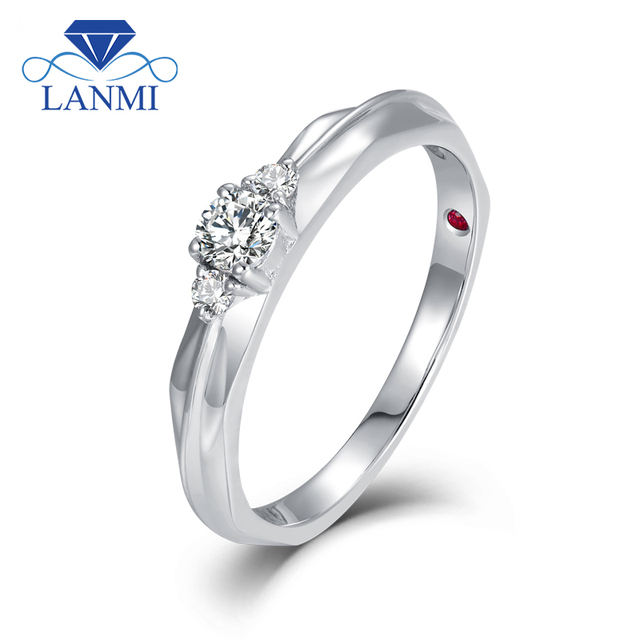 Lanmi New Arrival Solitare 18k White Gold Three Diamond Wedding Rings Women Anniversary Simple Design For