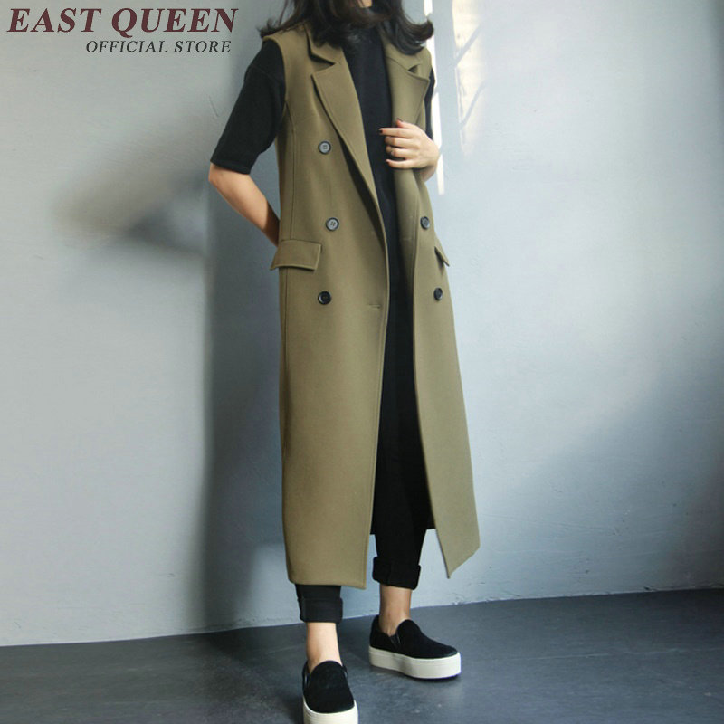 Trench coat for women sleeveless trench femme female winter autumn long trenchcoat winter coat women 2017 AA1229X
