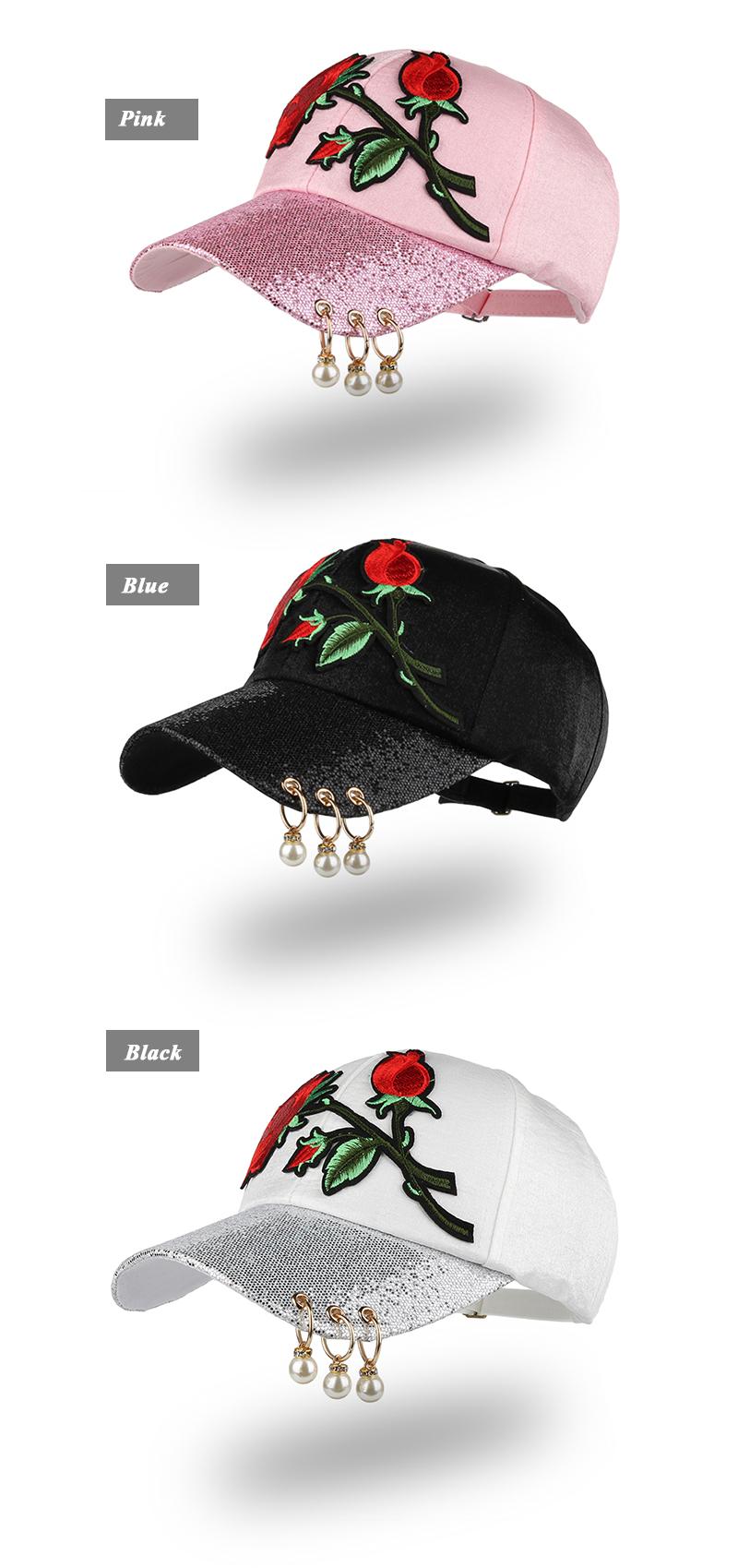 Embroidered Rose Baseball Cap - Pink Cap, Black Cap and White Cap
