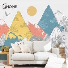 Autocollants muraux créatifs en vinyle, motif de couchers de soleil, décoration artistique pour salon, forêt, tribu