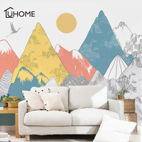 Creative Colored Mountains Sunset Pattern Wall Stickers Woodland Tribal Living Room Wall Decal Vinyl Art Wallpaper Decoration