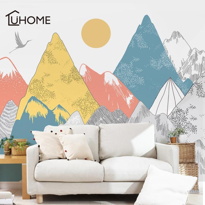 Creative Couleur Montagnes Coucher Du Soleil Motif autcollants muraux Woodland Tribal Salon autocollant mural Vinyle Art décoration de papier peint