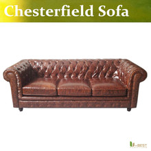 U-BEST BROWN LEATHER VINTAGE CHESTERFIELD SOFA ANTIQUE 60s 70s RETRO ERA , LEATHER 3 SEATER SOFA