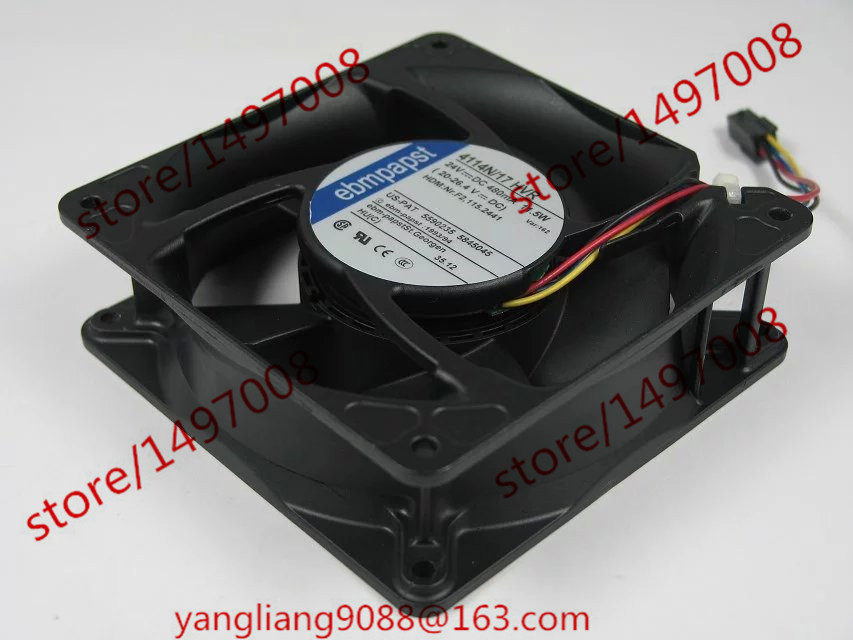 ebmpapst 4114N 17HVR 4114N 17HVR DC 24V 11 5W 120x120x38mm Server Cooler Fan