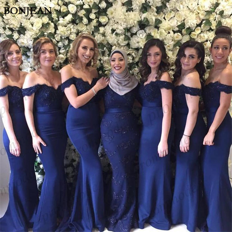 New Long Navy Blue   Bridesmaid     Dresses   Off Shoulder Sleeveless Sweep Train Appliques Wedding Guest Party Gowns Cheap