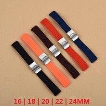Essentiel 16mm, 18mm, 20mm, 22mm, 24mm 5 couleurs Nouveau Bracelet En Caoutchouc de Silicone Bande Boucle Déployante Étanche Noir Bracelet