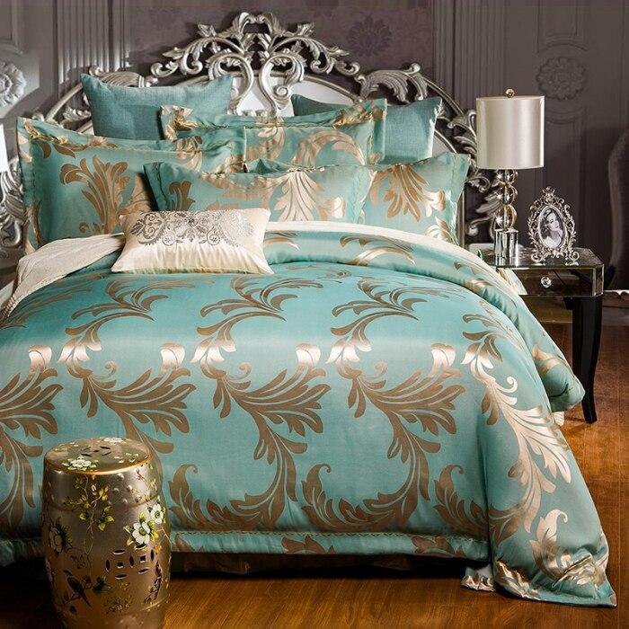 Soie blanche Coton luxueux literie roi reine taille couvre-lit/couette/housse de couette drap de lit taie d'oreiller 4 pc ensemble de literie