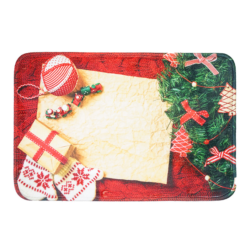 Christmas Entrance Welcome Outdoor Carpet Non-slip Stair Flooring Mat Soft Flannel Home Bathroom Decoration Christmas Carpet
