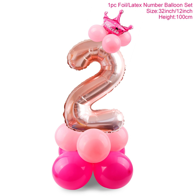 Купить с кэшбэком QIFU 2 Year Birthday Pink Balloons Blue Baby hower Boy Girl I AM TWO Happy 2nd Balloons Happy Birthday Party Decor Kids Favor