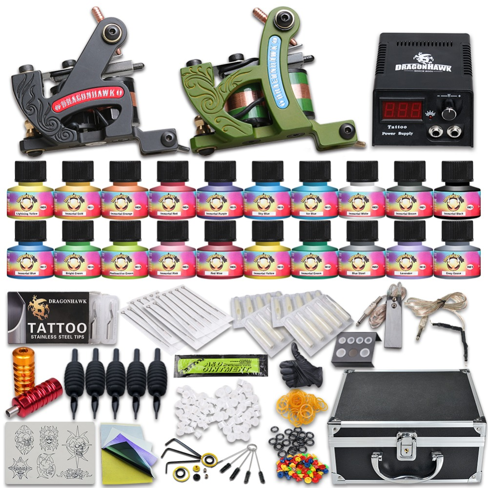 Beginner Complete Tattoo kit USA Color Ink 2 Machine Guns Power supply Needle Grip Tip 10-24GD-13Beginner Complete Tattoo kit USA Color Ink 2 Machine Guns Power supply Needle Grip Tip 10-24GD-13