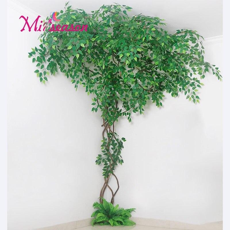 1 conjunto verde eucalipto folhas paisagismo interior sala de estar parede falso flor árvore rattan videira planta decoração para casa loja - 3
