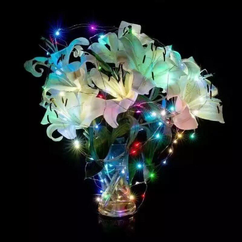 50 pcs * 10 M 100 led Alimentado Por Bateria 3AA Decorativa LED Fio de Cobre Luzes Cordas de Fadas para o Natal de Casamento partes - 3