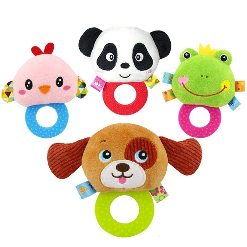 Новорожденных погремушки игрушки Колокольчик для малышей Кольца интерактивные милый мультфильм животных плюшевые Игрушечные лошадки ребенка раннего образования подарок